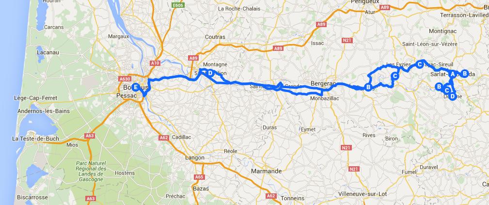 Um roteiro de carro pelo Périgord em mapas
